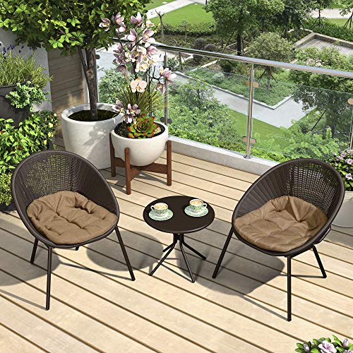 PURPLE LEAF 3 Pieces Patio Furniture Set Outdoor Bistro Table Set with Weather Resistant Steel Frame and Round Table, Cushions Included, Coffee