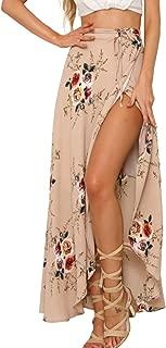 Simplee Women's High Waisted Boho Wrap Skirt Floral Print Beach Chiffon Skirt