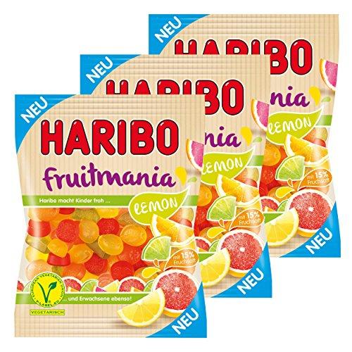 Haribo Fruitmania Lemon, 3er Set, mit Fruchtsaft, Gummibärchen, Weingummi, Fruchtgummi, im Beutel, 525 g