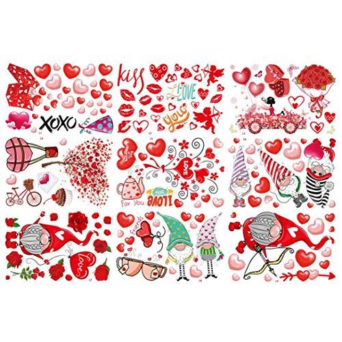 Buty Día de la Boda Pegatinas de San Valentín Wall Decal Amor del corazón se aferra Ventana Decoración estáticas para la Fiesta de Aniversario