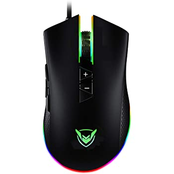 PICTEK RGB Gaming Mouse Wired, Adjustable 10,000 DPI, 8 Programmable Buttons-7 RGB Lighting Modes Ergonomic USB Mice PMW3325 with Fire Button for Laptop/PC with Long Braided Cord, Matt Black