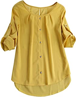 Qootent New Women Chiffon Button Blouse Spring Casual Office Solid O-Neck Shirt