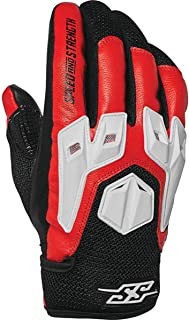 Speed and Strength Insurgent Leather Men's Street Motorcycle Gloves - Red/Black/White/Medium