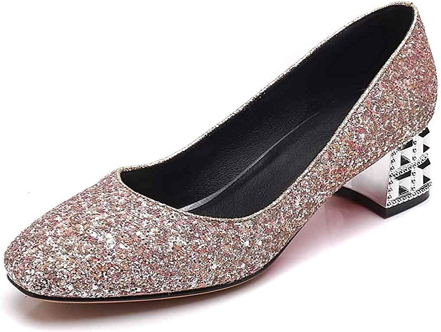 Women's Sequined Square Toe Pumps shoes - Mid Chunky Heels - Low Cut Bling Glitter Slip On