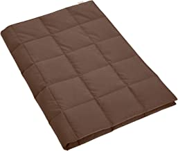Puredown Bedding Lightweight Goose Down Camping Blanket, Packable Down Throw with Soft Peach Skin Fabric Brown E-PD-16057-B