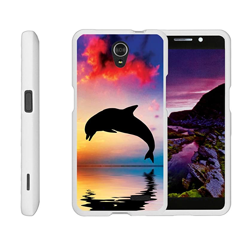 Compatible for ZTE Sonata 3 Case | Maven 2 Case | Chapel Case [Slim Duo] Hard Shell Snap On Case Compact Cover Matte on White Sea Ocean Design by TurtleArmor - Dolphin Jump