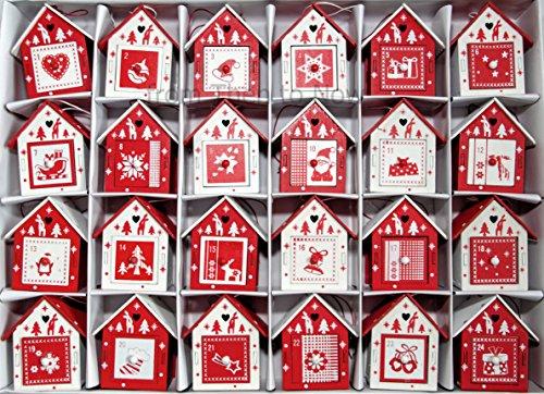 Adventskalender aus Holz, Vogelhäuschen im skandinavischen Stil, rot/weiß