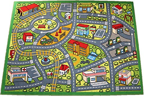 Alfombra habitación Infantil Moderna, Alfombra Infantil Carretera de Ciudad para Juegos de niños, Alfombra Bebe, Material Poliamida, tamaño 133 x 180 cm
