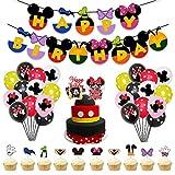 Decoraciones de cumpleaños de Mickey Mouse,39 PCS Banner de Happy Birthday adorno de pastel Globos de lunares para la fiesta temática de Mickey Mouse