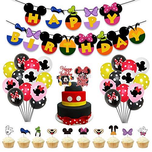 REYOK Decoraciones de cumpleaños de Mickey Mouse,39 PCS Banner de Happy Birthday Adorno de Pastel Globos de Lunares para la Fiesta temática de Mickey Mouse