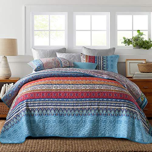 Y-PLWOMEN Boho Colorful Stripe Quilt Set - Reversible & Decorative Floral Pattern Printed Style Bedspread (3 Piece, Queen Size)