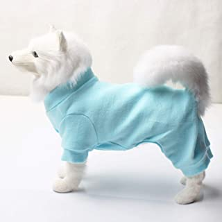TONY HOBY Dog Pajamas Dog Jumpsuits 4 Legs Dog pjs Cotton Made Pure Color Pet Clothes