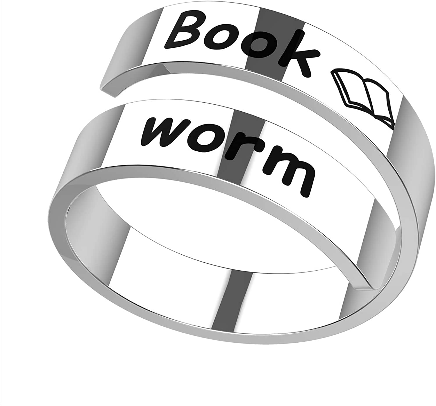 Jewelady Inspirational Motivational Stainless Steel Spiral Ring Adjustable Engraved Motivational Friendship Encouragement Rings Birthday Gifts for Women Teen Girls.