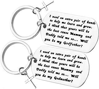 Best Godparents Gifts from Godchild Will You Be My Godfather/Godmother Keychain Set Godmother Keychain Godfather Keychain Christening Gift for Godmother Godfather Baptism Jewelry Review