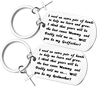 Godparents Gifts from Godchild Will You Be My Godfather/Godmother Keychain Set Godmother Keychain Godfather Keychain First Communion Jewelry Christening Gift for Godmother Godfather Baptism Jewelry