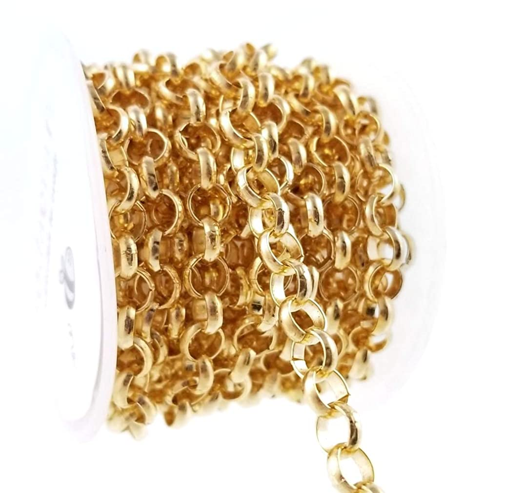 Gold Thick Rolo Link Chain Spool for Jewelry Making, Crafts (6mm)