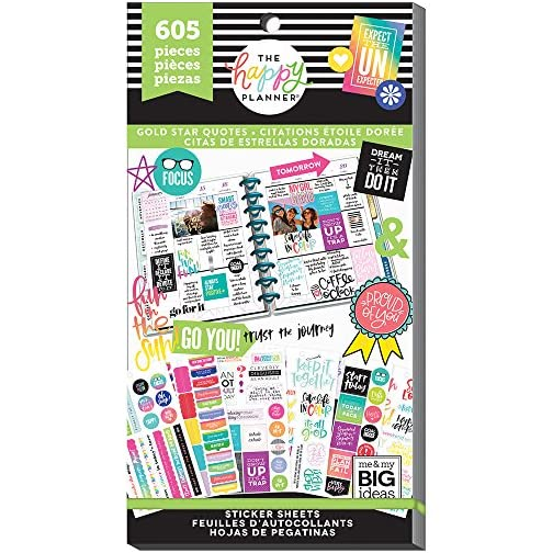 me & my BIG ideas Sticker Value Pack for Classic Planner - The Happy Planner Scrapbooking Supplies - Gold Star Quotes… |