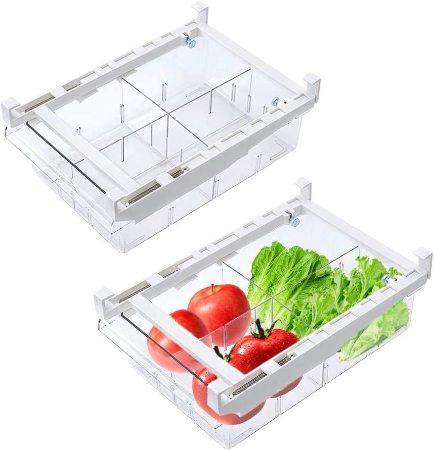 iBesi Seattle Mall 2 Pack Ranking TOP16 Refrigerator Organizer Storag Bins Pull-out Fridge