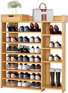 AOIWE Étagère à chaussures Noyer Classics à 7 étages en résine Idéal pour le salon Économie d'espace Facile à monter
