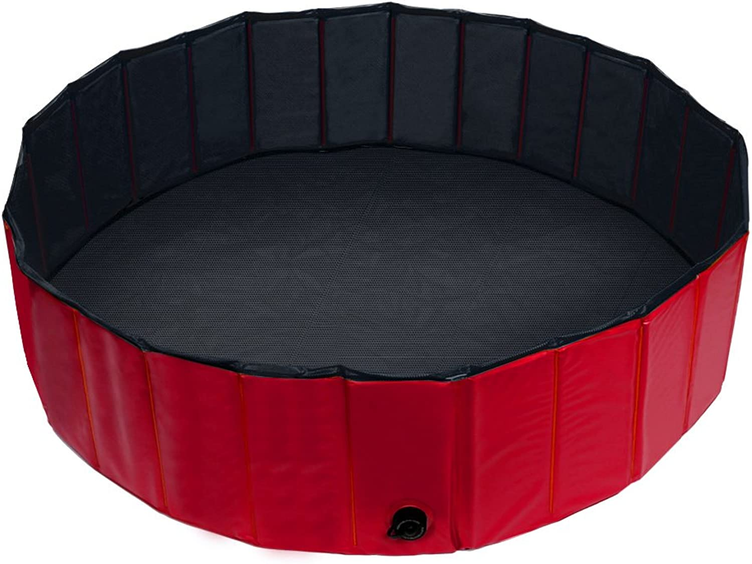 Fuloon Foldable Pet Swimming Pool Dogs Cats Paddling Pool Puppy Bathing Tub (M  47  Dia x 12  H, Red)