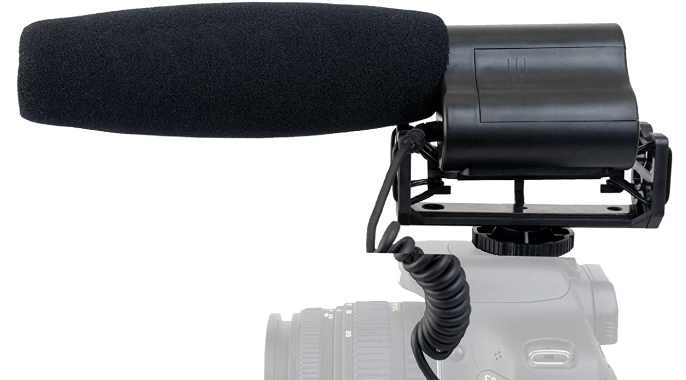 High Sensitivity Microphone (Stereo/Shotgun) with Windscreen & Dead Cat Wind Muff for Panasonic HC-VX981K