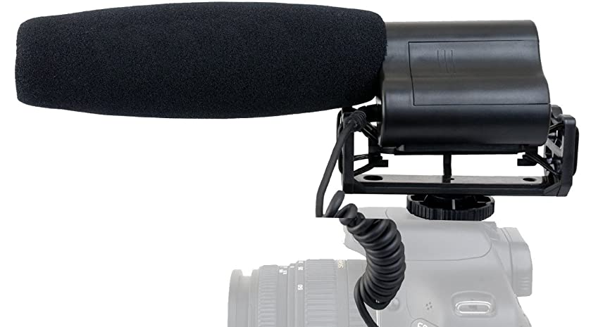 Shotgun Microphone (Stereo) with Windscreen & Dead Cat Muff for Canon VIXIA HF R82 (Includes Mounting Bracket)