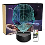 Night Light 3D Alien 3D Lamp Optical Illusion Nightlight Bedside Lamp 7 Colors Changing LED Lamps with Remote Birthday Gifts for Girls Kids Baby Boys Women and Bedroom Decor (Alien)