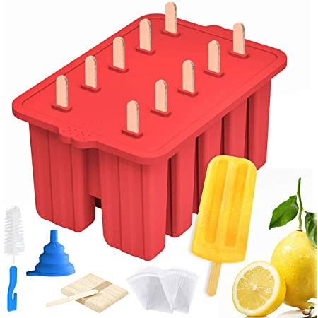 Silicone Popsicle Molds Maker,Large Homemade ICE Pop Molds Food Grade BPA Free Popsicle Mold with 50 Popsicle Sticks 50 Popsicle Bags,Funnel,Cleaning Brush(Red)
