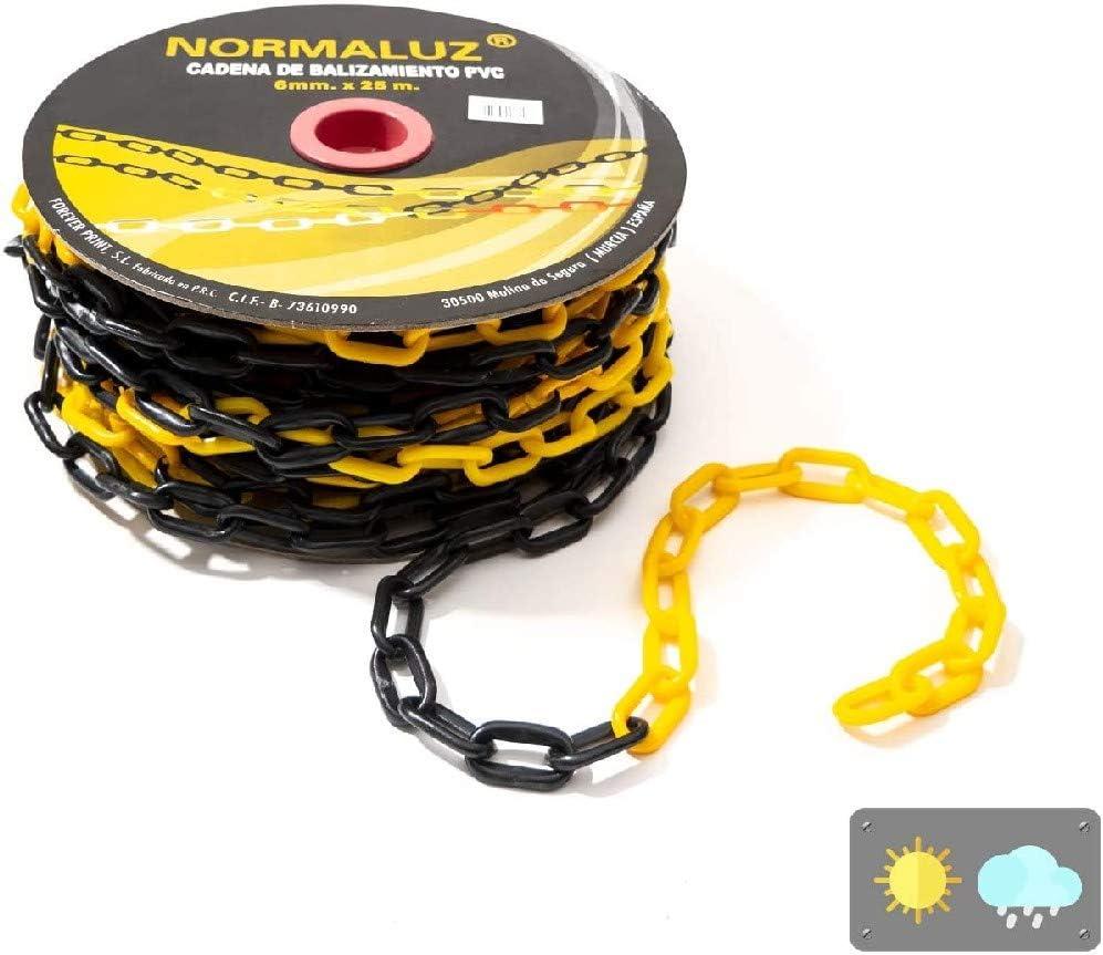 Normaluz RD80740 Cadena plastico 6 mm negra amarilla 25 m, 25m