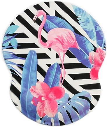 Almohadilla para ratón flamingo-exco de color rosa con suave gel de soporte de muñeca de sílice, base antideslizante de PU, con superficie lisa.