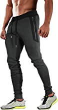 Men's Jogger Pants Tapered Fit Gym Workout Running Sweatpants with 3 Zipper Pockets