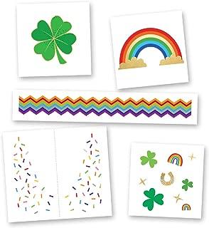 Shamrock Shimmer Variety Set of 25 assorted Flash Tattoos, premium waterproof colorful metallic kids temporary tattoo, gold tattoo, metallic tattoo, St. Patrick's Day, rainbow, shamrock, foil tattoo