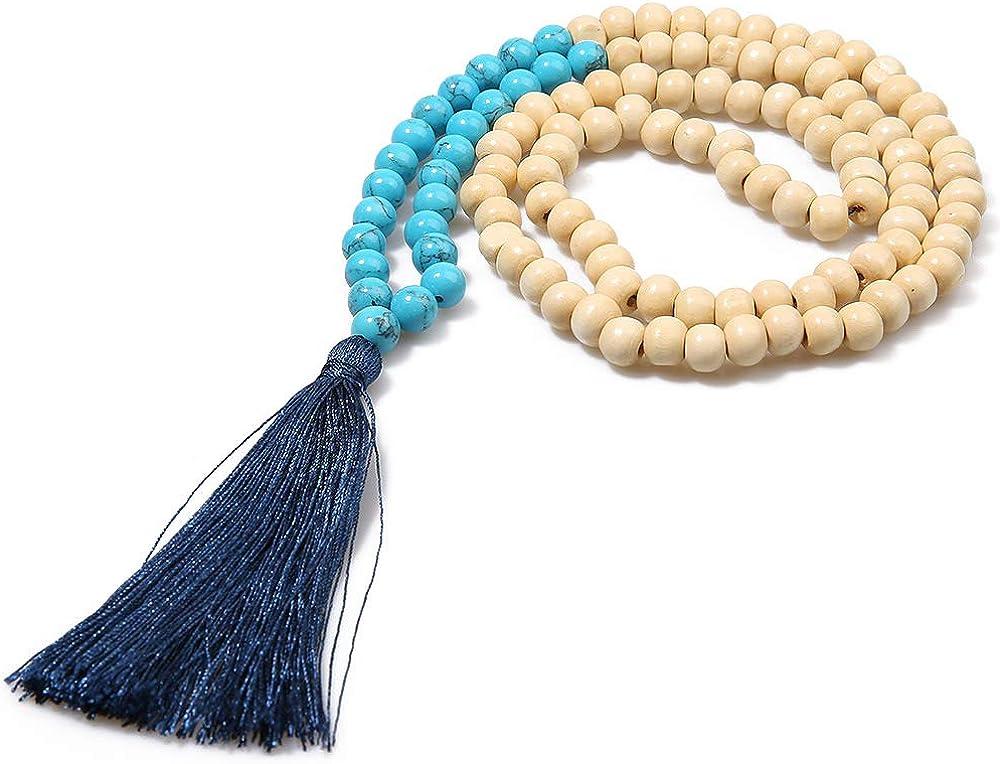 BALIBALI 8MM Semi-Precious Gem Stones Wood Mala Bead Necklace Multicolor Tassel Charms Chain Necklace Handmade Beaded Pendant Necklace for Women Men