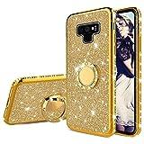Misstars Brillantini Glitter Cover per Galaxy Note 9 Oro, Bling Diamante Morbida TPU Silicone Custodia Antiurto Protettivo Cover con Supporto ad Anello per Samsung Galaxy Note 9
