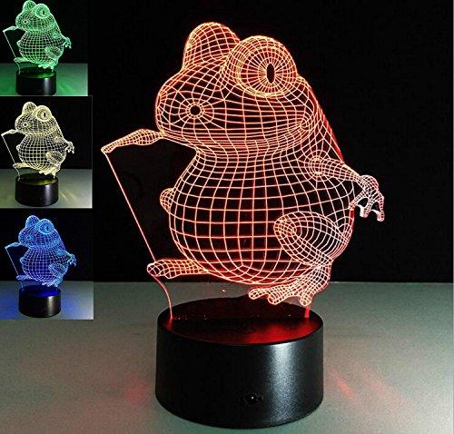 Creativo 3D Rana Luz de Noche 7 Colores que Cambian USB Poder Touch Switch Ilusión óptica Decor Lámpara LED Mesa Lámpara Niños Juguetes Cumpleaños Navidad Regalo