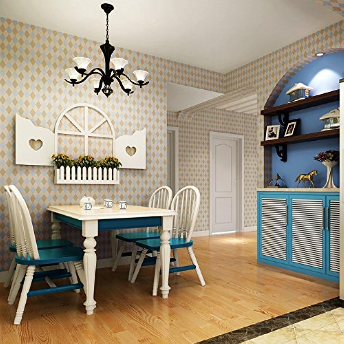 代表する期限切れ故障中ヴィンテージ壁紙3D格子ダイヤモンドジオメトリ壁紙ロール壁用寝室居間ホームインテリア不織3D壁紙、200X140CM
