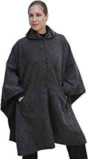Hooded Alpaca Wool Cape Lined Hood Poncho, Charcoal Gray