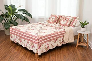 DaDa Bedding Cottage Bedspread Set Dusty Roses Reversible Quilted Coverlet Vibrant Floral Multi Colorful Mauve Pink, Full,...