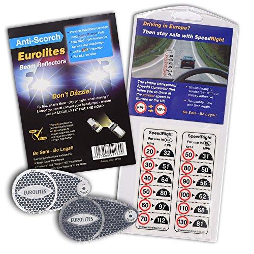 Anti-Scorch Eurolites Scheinwerfer-Aufkleber / Scheinwerfer-Adapter, Scheinwerfer-Konverter + SpeedRight-Aufkleber mit umgerechneten Geschwindigkeitsangaben