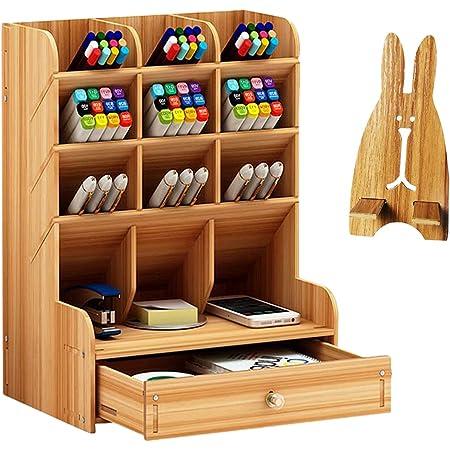 Catekro Boîte de rangement de bureau Fourniture multifonction papeterie porte-stylo en bois massif support de rangement pour Table,Organisation
