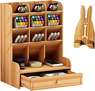 Catekro Boîte de rangement de bureau Fourniture multifonction papeterie porte-stylo en bois massif support de rangement po...