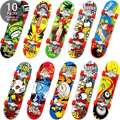 Gejoy Mini Finger Skateboards Fingerboard Finger Skate Penny Board Spielzeug Fingertip Bewegung für Kinder Erwachsene Geburtstagsgeschenke Party, Zufälliges Muster (10 Stücke)