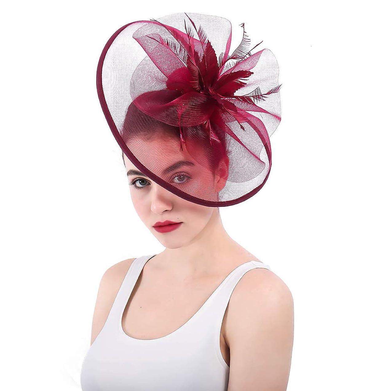 女性の魅力的な帽子 女性のエレガントな魅惑的な帽子カバーフェイシャルブライダルヘッドドレスフラワーヘアアクセサリーウェディングカクテルロイヤルアスコット