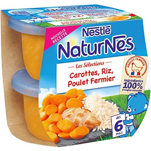 NESTLE NATURNES Les Sélections Petits Pots Bébé Carottes, Riz, Poulet Fermier - Dès 6 mois - 2x200g - Pack de 8 ( 16 Pots )
