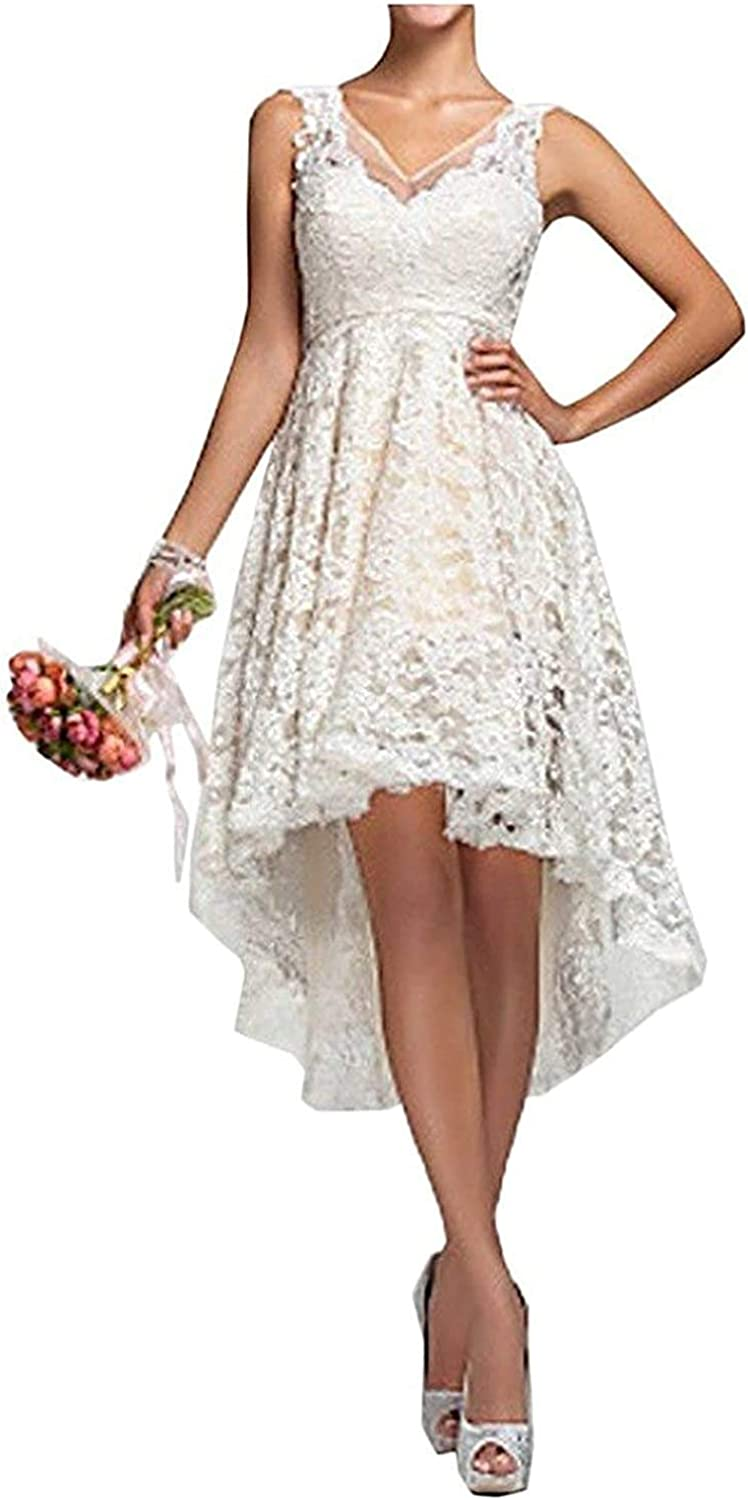 High Low Counrty Lace Short V-Neck Wedding Dress for Bride