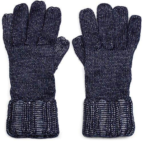 styleBREAKER Damen warme glänzende Handschuhe mit doppeltem Bund, Winter Strickhandschuhe, Fingerhandschuhe, Glitzer 09010011, Farbe:Dunkelblau meliert