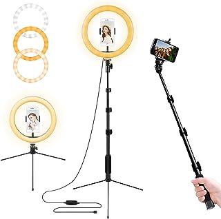リングライト, LED 撮影照明ライト 自撮り 外径10インチ USBライト3色モード付き 卓上ライト 女優ライト 高輝度LED 11段階調光 スマホ用三脚 生放送/美容化粧/TikTok・YouTubeビデオ/カメラ撮影用/仕事/勉強授業
