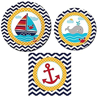 Creative Converting Ahoy Matey Tableware Pack 16: Dinner Plates, Lunch Plates Napkins