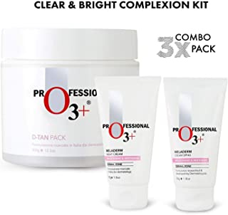 O3+ Professional D-Tan with Meladerm Brightening & Whitening Day and Night Cream - Clear & Bright Complexion Kit for All Skin Types (Pack of 3)