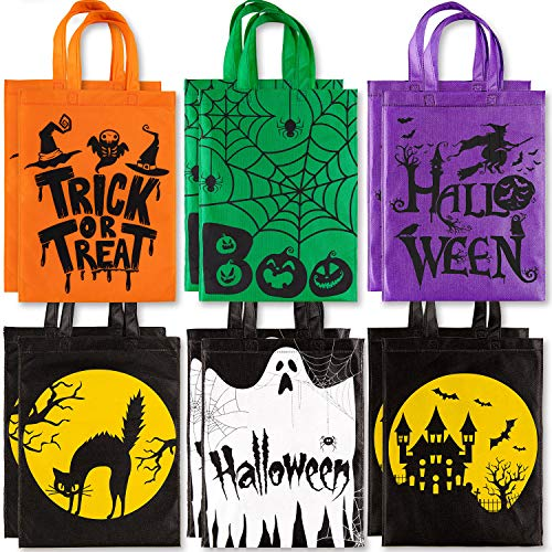 Whaline 12 Pack Halloween Trick or Treat Bags Non-Woven Tote Gift Bag Skull Pumpkin Web Spider Witch Candy Bags Reusable Goodie Treat Bag with Handle for Halloween Party Favors, 12 x 15'